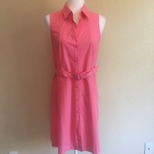 Theory Womens Sleeveless A Line Dress Pink / Coral